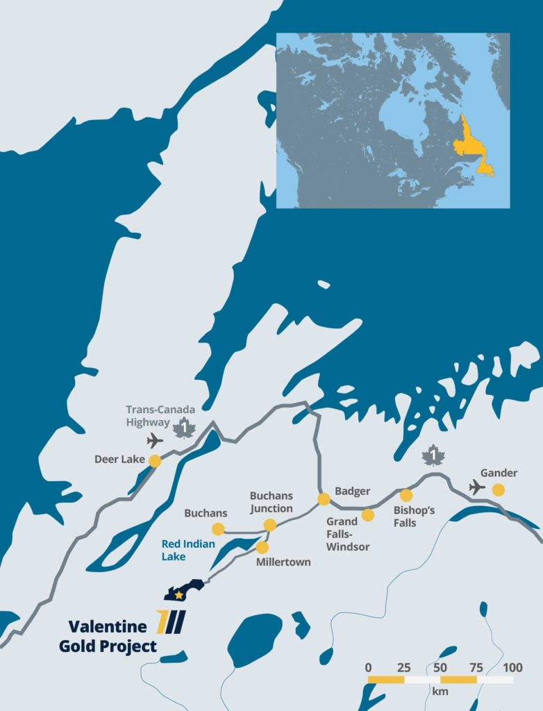 Map of Newfoundland showing location of the Valentine Gold Project